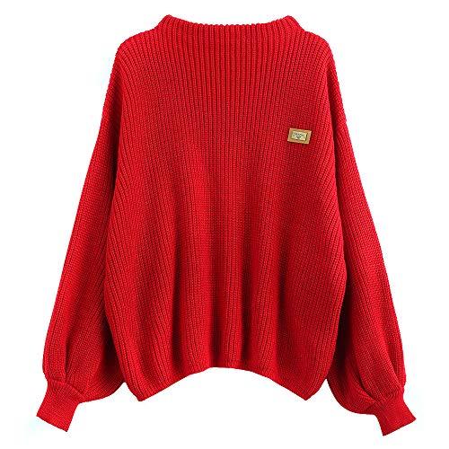 ZAFUL Damen Chevron Patches Oversized Pullover Sexy lose Große Langen Ärmeln V-Ausschnitt Fledermausflügel Herbst und Winter Ärmel Sweater Pulli Outwear (Rot)