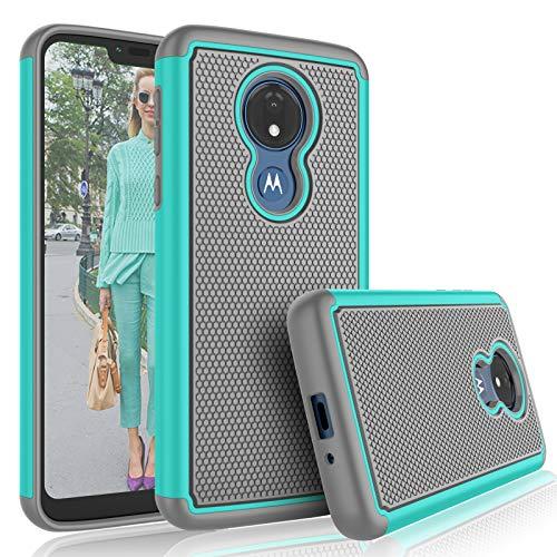 Moto G7 Power Case,Motorola Moto G7 Supra / G7 Optimo Maxx Cute Case, Tekcoo [Tmajor] Shock Absorbing [Turquoise] Rubber & Plastic Scratch Resistant Bumper Grip Rugged Sturdy Hard Phone Cases Cover