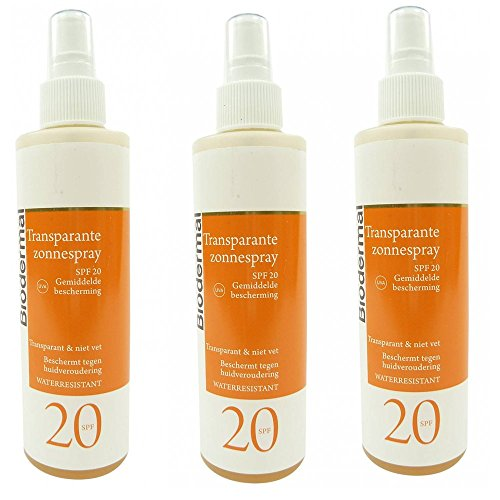 Biodermal Sun Care - SPF 20 Spray Solaire 3x200ml imperméable à l'eau protectrice transparente