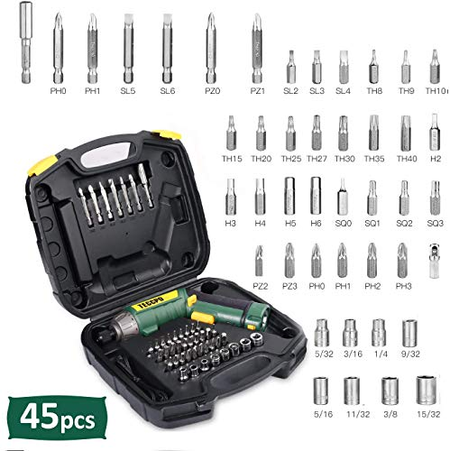 Cordless Screwdriver, 45Pcs 6Nm TECCPO Electric Screwdriver, 4V 2000mAh Li-ion, 9+1 Torque Gears, Adjustable 2 Position, USB Rechargeable -TDSC01P