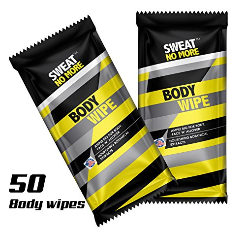 "Sweat No More Extra Large 10 x 9"" Deodorizing Body Wipes for Outdoor Activities Cleaning and Deodorizing, Remover Sweat, Dirt and Body Odor, Individually Wrapped - Pack of 50"