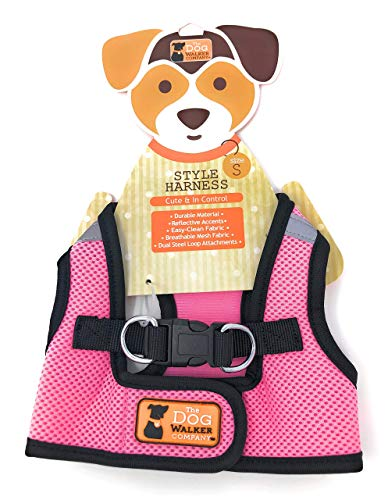 The dog walker Company Reflector Accent Harness | Small 10-15 Lbs | Pink/Black