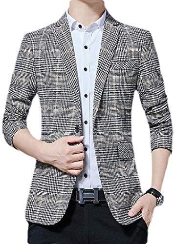 Avis N Men Slim Fit One Button Plaid Notch Lapel Sportcoat Blazer Jacket