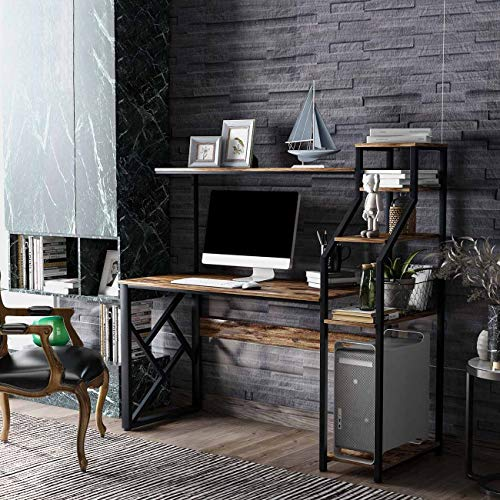 L-59'' Home Office Computer Desk with Hutch and Shelf Computer Table Metal Frame Dark Walnut Wooden Desktop New Modern Design (59''L- Black Walnut)