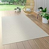 Paco Home In- & Outdoor Flachgewebe Teppich Sisal Optik Natürlicher Look Einfarbig Weiß, Grösse:120x170 cm