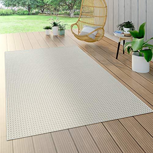 Paco Home Alfombra Interior Y Exterior Tejido Liso Efecto Sisal Aspecto Natural Monocolor Blanco, tamaño:160x230 cm