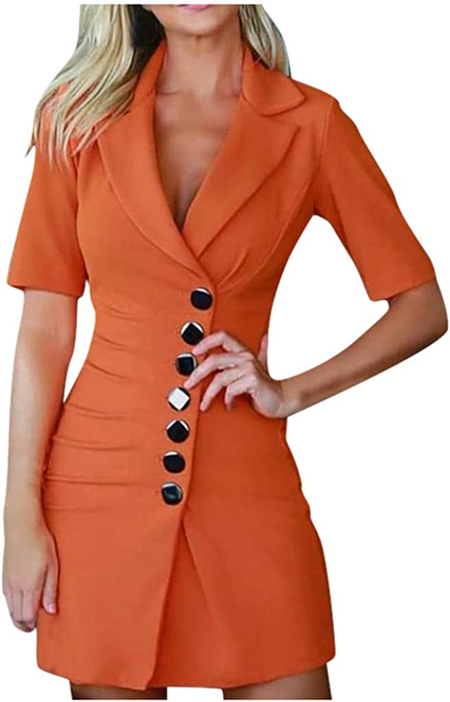 KYLEON Women's Wear to Work Short Sleeve Office Work Casual Pencil Dress Bodycon Formal Business Party Church Midi Dress
