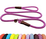 British-style rope slip lead, Collar and Leash 2-in-1. Adjustable Slip Lead with leather slider and ring loop to customize fit for your dog's neck size. 5ft/150 cm is a perfect length for walking, running or training that reaches a balance between co...