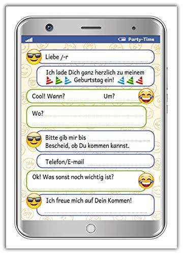 12 Einladungskarten zum Kindergeburtstag Mädchen Jungen Jungs Tablet Handy Smartphone / Einladungen zum Geburtstag