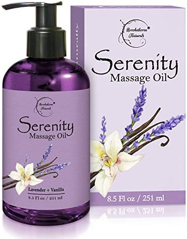 Serenity Massage Oil with Lavender Vanilla Essential Oils All Natural for Relaxation Stress product image