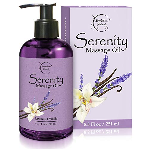 Serenity Massage Oil with Lavender & Vanilla Essential Oils – All Natural for Relaxation, Stress Relief & Sore Muscles. Great Massage Oil for Massage Therapy & Couples Massage by Brookethorne Naturals