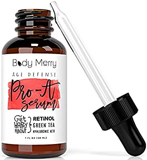Body Merry Pro-A Serum Advanced Anti-Aging Retinol Serum w Natural Aloe, Vitamin E & Hyaluronic Acid to Combat Wrinkles, Fine Lines, Discoloration