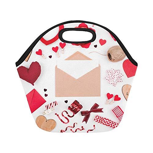 Isolierte Neopren-Lunch-Tasche Happy Valentines Day Roter Umschlag Rot Große wiederverwendbare Thermobeutel für dickes Mittagessen Für Brotdosen Für den Außenbereich, Arbeit, Büro, Schule