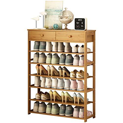 Organizador para Zapatos Multifunción Home Storage Rack 6-capa zapato de bambú Entrada Organizador de zapatos con 2 cajones Ideal for sala de estar Dormitorio de corredor Mueble para Zapatos