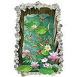 Engomadas de la pared 3D del estanque de peces de suelo, calcomanías antideslizantes Artista Casa Mural pósters, usado...