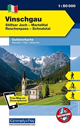 Italien Outdoorkarte 01 Vinschgau 1 : 50.000: Ortler-Silfser Joch, Reschenpass,Schnalstal. Wanderwege, Radwanderwege, Nordic Walking, Skilanglauf, Skitouren (Kümmerly+Frey Outdoorkarten Italien)