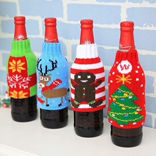 Lefu 2PCS Decoración de la Mesa Navidad Ropa Punto Funda para Botella Vino, Biscuit Man/Snowflake: Amazon.es: Hogar