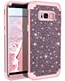 Casetego Compatible with Galaxy S8 Plus Case,Glitter Sparkle Bling Three Layer Heavy Duty Hybrid Sturdy Shockproof Protective Cover Case for Samsung Galaxy S8 Plus-Shiny Rose Gold