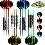 VOOVOO Plastic Tip Dart 18 Gram Soft Tip Dart Set for Electronic Dart Board, 12 Pack Professional Plastic Tip Dart Set with 120 Dart Tip Point 12 Flight 12 Aluminum Shafts