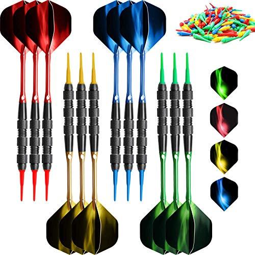 VOOVOO Plastic Tip Dart 18 Gram Soft Tip Dart Set for Electronic Dart Board, 12 Pcs Professional Plastic Tip Dart Set with 120 Dart Tip Point 12 Flight 12 Aluminum Shafts