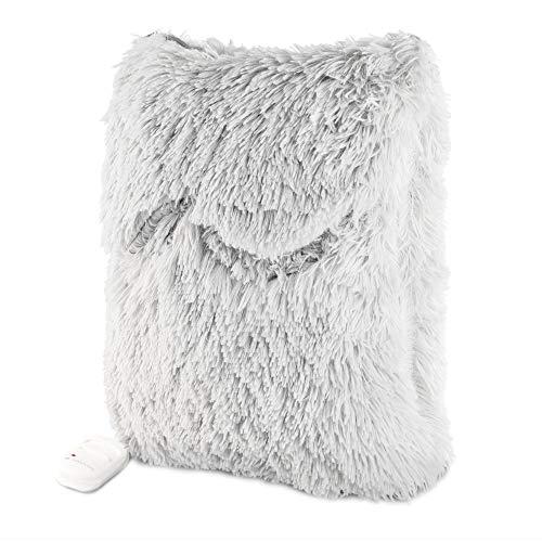 Navaris 2in1 Elektrisches Heizkissen und Fußwärmer - 38x38cm 2 Wärmestufen 45W waschbar - Wärmekissen für Rücken Nacken Schulter Füße Grau