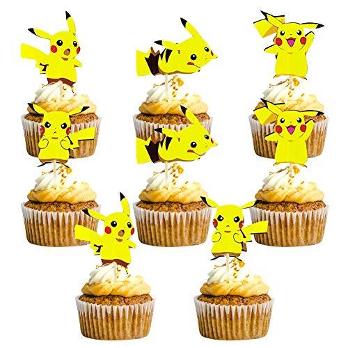 BESTZY Tortendeko Geburtstag 120PCS Pokémon Cake Topper Geburtstags Party Pokémon Pikachu Cupcake Figuren Kuchen Dekoration Lieferunge für Kinder Geburtstag Baby Mädchen Junge,A