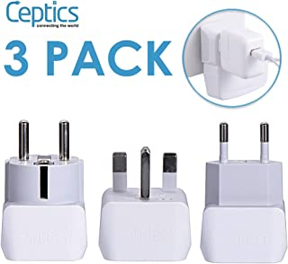 Complete European Travel Adapter Set by Ceptics - 2 In 1 Usa to Europe, Germany, England, Spain, Italy, Iceland, France, (Type G, E/F, Type C) - 3 Pack, Safe Grounded Perfect for Cell Phones, Laptops