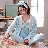 Albornoz de Invierno, Mujeres Pijamas Sets 4 Peices Franela Rosa Rosa Ropa de Dormir Caliente Mujer Otoño Invierno Sling Lace Sexy Homewear Moda, 1, M WTZ012 (Color : 2, Size : L)