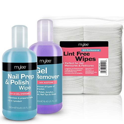 Kit de manicura Mylee Salon, removedor de esmalte y preparación para uñas y toallitas para uñas Paquete de LED UV Paquete para esmalte de gel profesional Remoje la manicura y la pedicura.