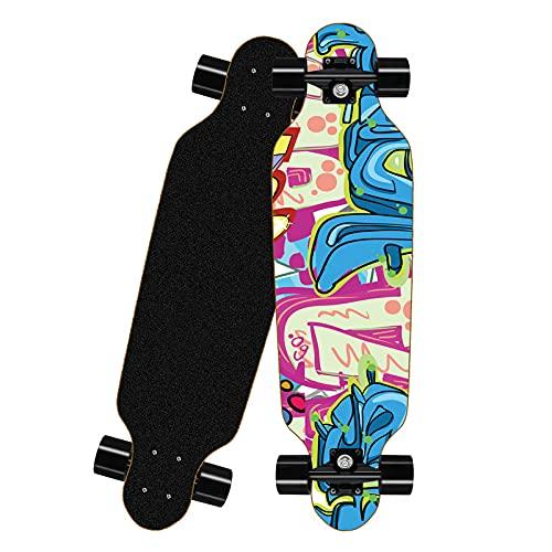 HAOANGZHE Skateboard Komplettboard,Mit High Speed 7 Kugellagern Ahorn Longboard, Länge 80cm - Breite 20cm - Gewicht 3 kg, Gefertigt Aus 8 Lagen Ahornholz Konstruktion