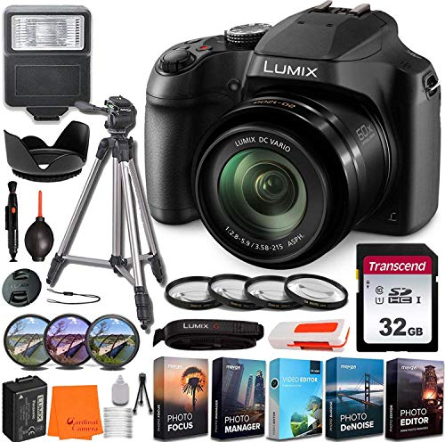 Panasonic Lumix DC-FZ80 Digital Camera w/All-in-one Professional Bundle incl. Slave Flash, 32GB Memory Card, Tripod,...