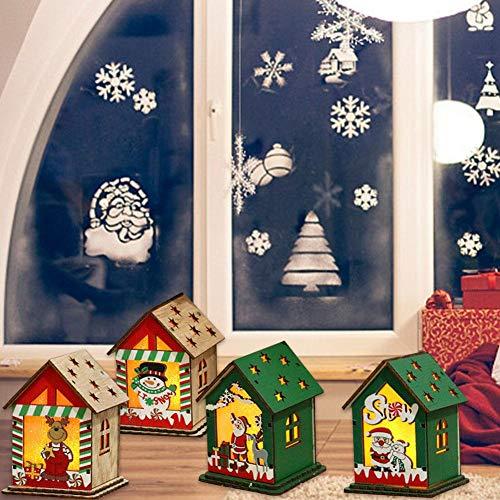 iBàste LED Weihnachtsbaum Pendelleuchte Holzhaus Ornamente mit Licht für Weihnachten