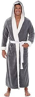 Leegor Men Pyjama Set,Home Clothes Plush Lengthened Shawl Bathrobe Robe Coat