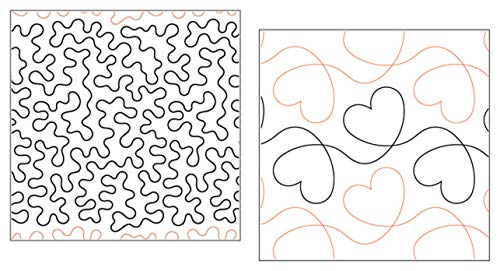 Quilting Creations Pantographs for Quilting | Set of 2 Rolls of Paper Pantograph Patterns for Longarm Quilting Machines | Basic Stipple and Heart Design Quilt Pantographs