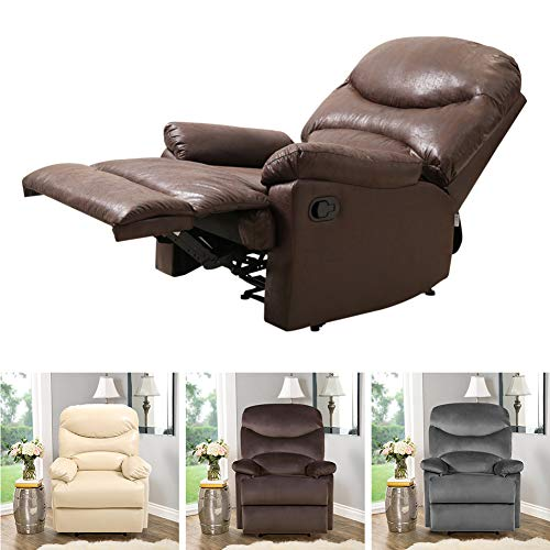 INMOZATA Recliner Sofa Chair Adjust Reclining Armchair Lounge Waterproof PU Leather Occasional Tub Chair with Foot Rest Pad for Living Room Bedroom, Hold Weight to 150kg(Coffee Brown)