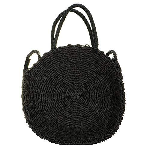 Bolso de paja para mujer redondo de ratán Crossbody tejido a mano natural verano playa bolsa de hombro, Negro (Negro), Large