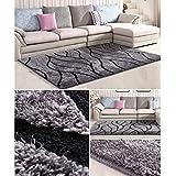 qazxsw Streifen Schlafzimmer Nachttischmatten Verdickte helle Seidenteppiche Wohnzimmer Rutschfester Teppich Fusselfreier moderner Stil - 2