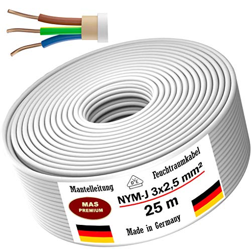 Feuchtraumkabel Stromkabel 5, 10, 15, 20, 25, 30, 35, 40, 50, 75, 80, oder 100m Mantelleitung NYM-J 3x2,5mm² Elektrokabel Ring für feste Verlegung (25m)