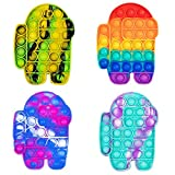 WQFXYZ Pop Push Sensory Toys Push Sensory Toys can Relieve Stress. Special Multi Shaped Toys Suitable for All Ages Decompression Silicone Squeeze Toy (Colorful-4PCS)