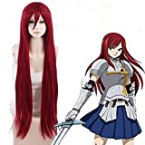 HOT! Fairy Tail Erza Scarlet Long Straight Red Anime Cosplay Hair Wig