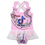 KNFUI Music Note Swimsuit Swimwear Beach Bathing Suit with Ruffle Strap Girls Pink
