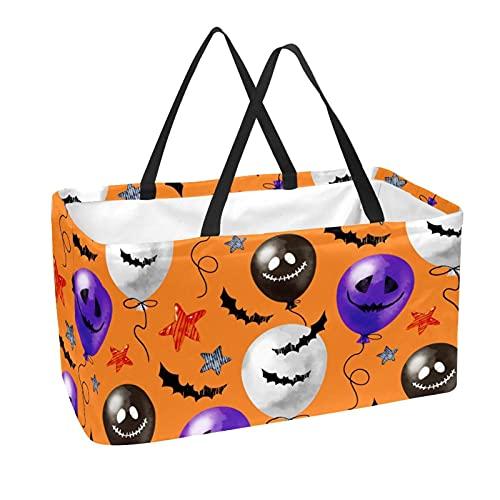 Bolsa de comestibles reutilizable grande, resistente bolsa de compras con parte inferior reforzada y asa (impresión naranja de Halloween)