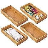 mDesign Juego de 4 Cajas organizadoras para Oficina y baño – Caja Rectangular de bambú – Organizador de Madera artículos de Oficina y Manualidades – Color Natural
