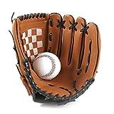 sevenjuly 1pc Deportes Béisbol Y Softbol Guante Profesional De Béisbol Y Softball Mitt con Soft PU Sólida Engrosamiento De Piel Jarra para Niños Y Adultos (Brown, 9.5inch)