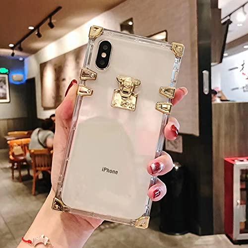 KESHOUJI Funda de teléfono de Silicona Suave Transparente de Metal Cuadrado de Lujo de Moda para iPhone 6 Plus 7 8 X XS XR MAX 11 12 Pro Funda Transparente, Transparente, para iPhone 11