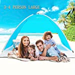 TIYASTUN Large Beach Tent Pop Up UV Kids Fold Up in Seconds, Beach Shade Tent Canopy for 1-4 Person, UV Sun Protection…