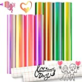 10 Sheets 12' x 10' Permanent Holographic Colors Vinyl Set Include 2 Sheets of Transfer Paper, Adhesive Craft Vinyl for Craft Cutters Cricut Maker,Sign Plotters
