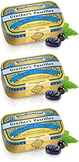 Grether's Pastilles Original Formula for Dry Mouth and Sore Throat Relief, Blackcurrant, 3-Pack, 2.1 oz. Per Box