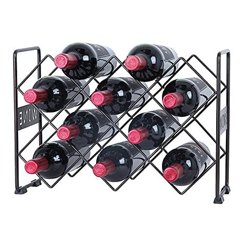 HFZY Tenedor de Vino para 10 Botellas, Estante de Vino de Metal de pie para Almacenamiento y visualización, Estante del Organizador de licores, para la Bodega de la despensa de la Cocina