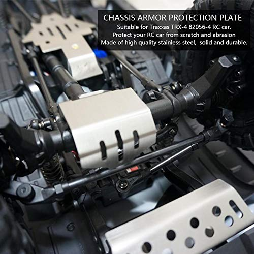 Alomejor 5 Stück RC Chassis Armor Edelstahl Chassis Armor Schutz Unterfahrschutz für Traxxas TRX-4 82056-4 RC Car